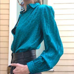Vintage teal silk blouse
